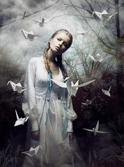 Mystery. Origami. Woman with Pigeons. Fairy Tale. Fantasy