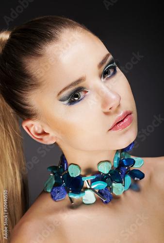Glamor. Romantic Elegant Girl with Accessories. Gemstones Beads