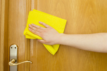 cleaning wooden door