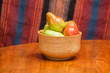 Pears in Bowl with Striped Background