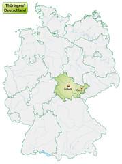 Landkarte von Deutschland und Thüringen