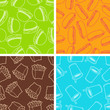 Fast food seamless patterns in retro style.