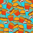 Fast food seamless pattern in retro style.