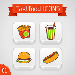 Collection of apps icons with fast food illustration. Set 1.