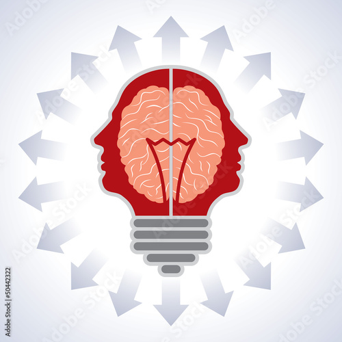 Concept of brain with bulbs as solutions to problems