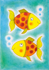 Two golden fish, child's drawing, watercolor painting on paper