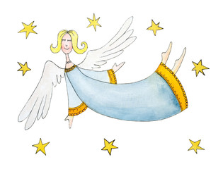 Angel with stars, child's drawing, watercolor painting on paper