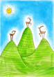 Three  Alpine ibexes, child's drawing, watercolor painting