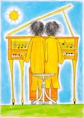 Piano players, Gemini, child's drawing, watercolor painting