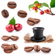Collections of roasted and red coffee beans, cup of coffee
