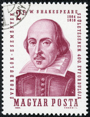 stamp printed in Hungary shows image of William Shakespeare