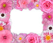 Flower Frame Pink, Purple Flowers on White