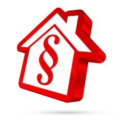 House Icon Paragraph 3D White/Red