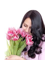Junge Frau mit Tulpen