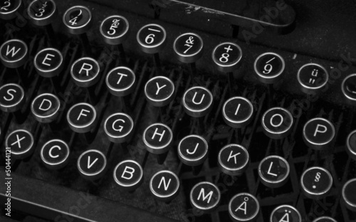 Antique typewriter keybaord closeup