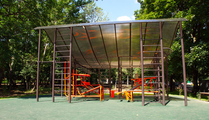 Playground on a sunny summer day, Moscow, Russia