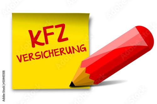 KFZ-Verischerung, Notiz+Stift, vektor