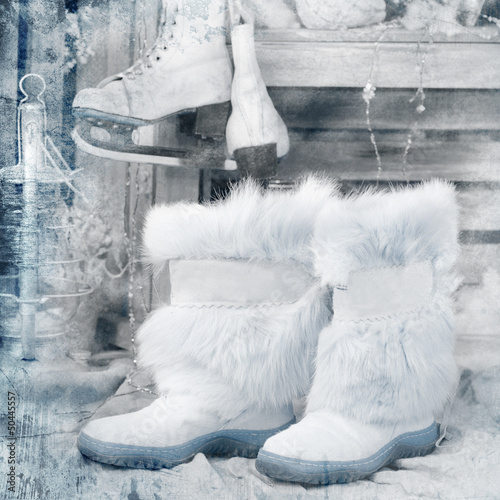 vintage style picture with winter boots