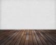 canvas print picture - Raum: Weisse Ziegelwand mit Holzfussboden