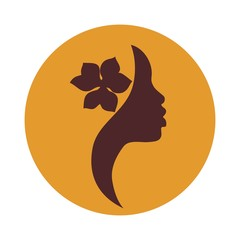 African American woman face profile, yellow background-vector