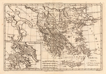Greece vintage map