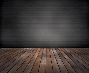 Raum: Graue  Ziegelwand mit Holzfussboden