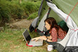 Woman with Laptop - camping serie