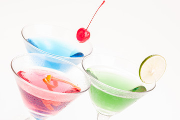 Colorful Martini Cocktails close up