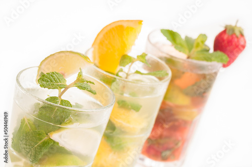 Variation of Mojito Cocktails in a row