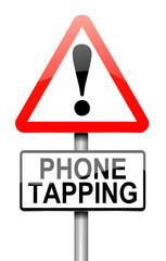 Phone tapping warning sign.