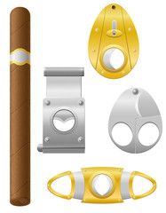 cigar and cutter vector illustration