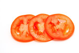 fresh tomatoes slice on a white background