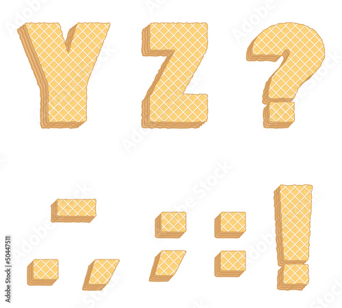 Vector collection of edible letters, consisting of waffles