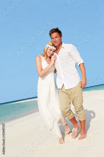 Couple At Beautiful Beach Wedding