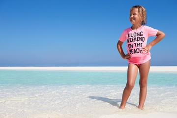 Young Girl Enjoying Beach Holiday