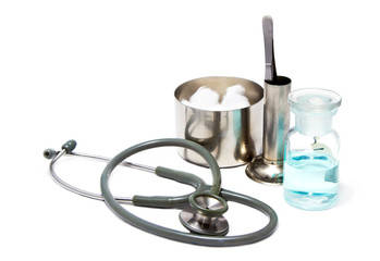 medical equipment,stethoscope and cleaning dressing set