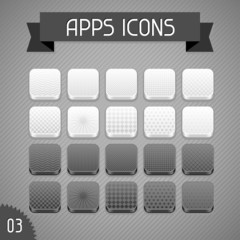 Collection of monochrome apps icons. Set 3.