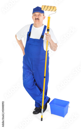 Painter in blue dungarees