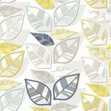 błękitne szare żółte liście nieskończony deseń