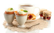 Light breakfast with boiled eggs and coffee, isolated on white