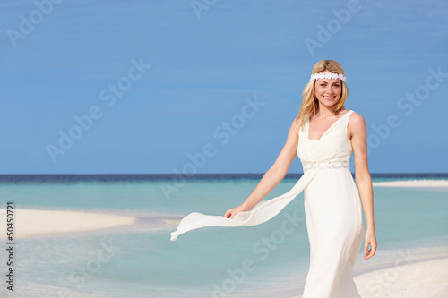 Bride At Beautiful Beach Wedding