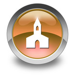 "Orange Glossy Pictogram ""Chapel"""