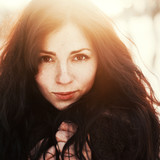 Outdoor fashion stunning closeup portrait of pretty young girl