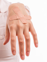 Woman with hand injury