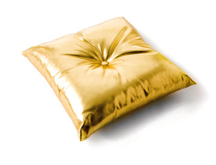 Golden metallized leather cushion