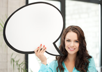 smiling young woman with blank text bubble