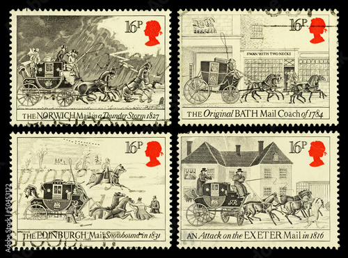 Britain Postage Stamps Shwoing Old Mail Coaches