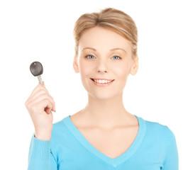 happy woman with car key