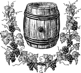 wine cask and grapevine