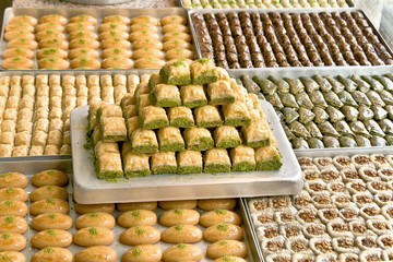 Turkish sweets on plates